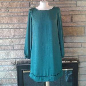 LOFT Dark Terquoise & Black Payterned Shift Dress